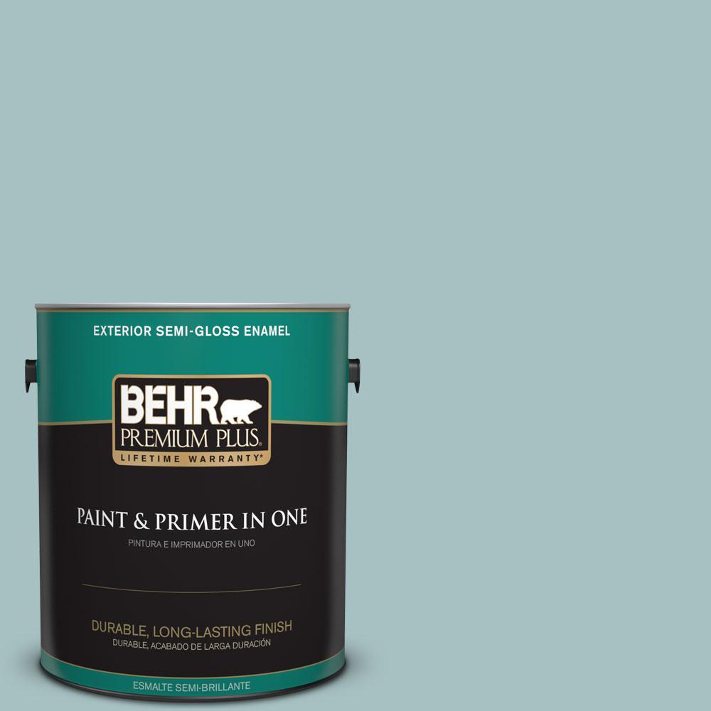 1-gal. #500F-4 Swan Sea Semi-Gloss Enamel Exterior Paint