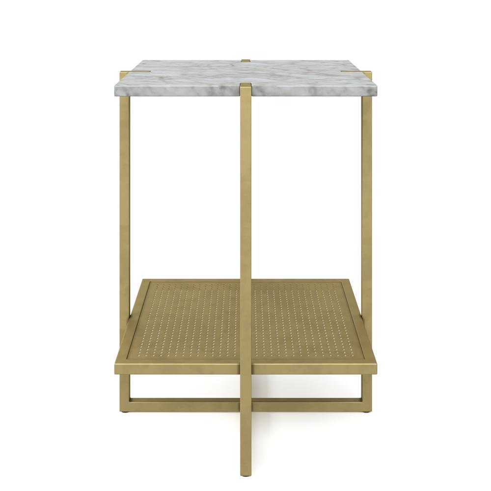 Nathan James Myles White Marble Top And Gold Metal Base 2 Tier