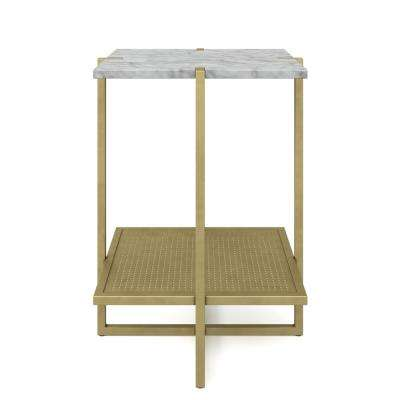 Myles White Marble Top and Gold Metal Base 2-Tier Modern Accent Table