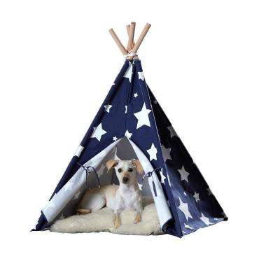 Medium Blue with White Stars Pet Teepee