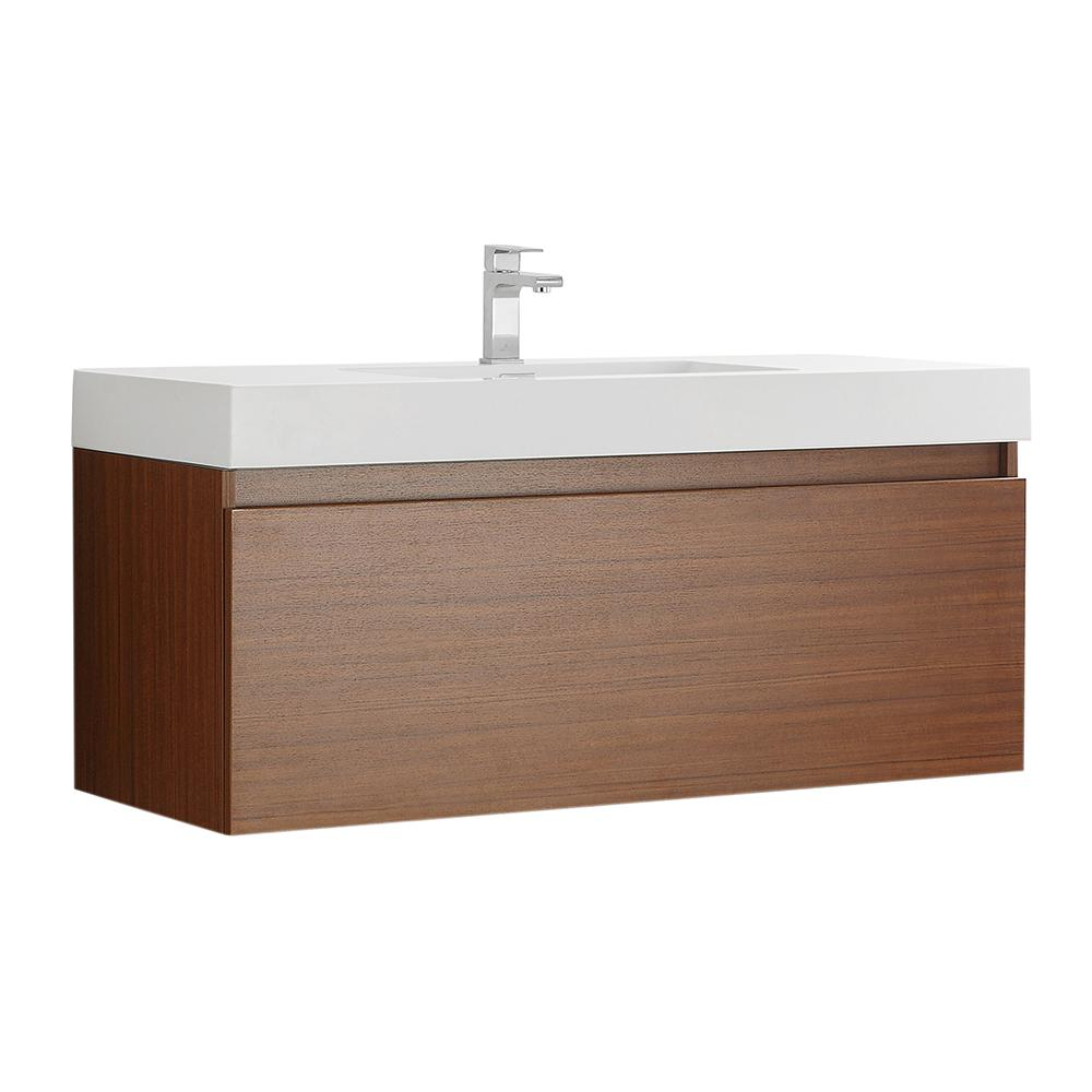 Fresca Mezzo 48 in. Modern Wall Hung Bath Vanity in Teak with Vanity Top in White with White Basin