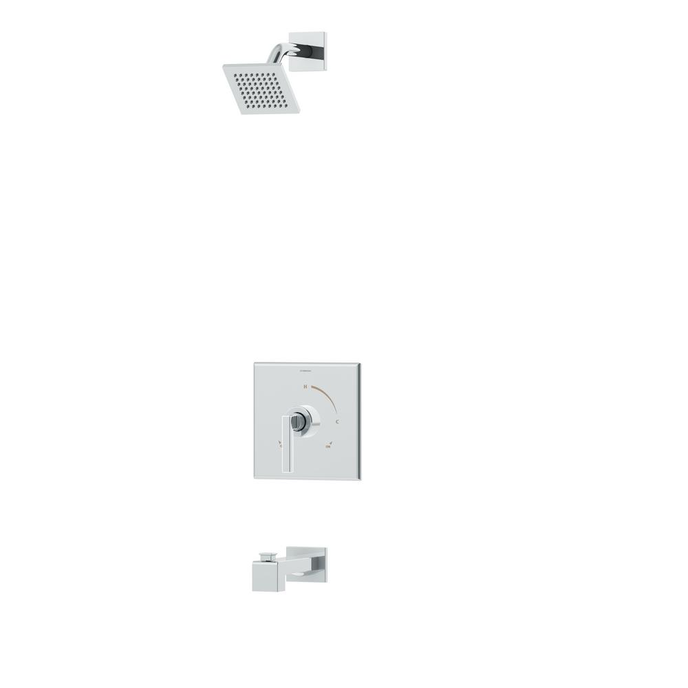 Duro Single-Handle 1-Spray Tub and Shower Faucet with Square Showerhead in