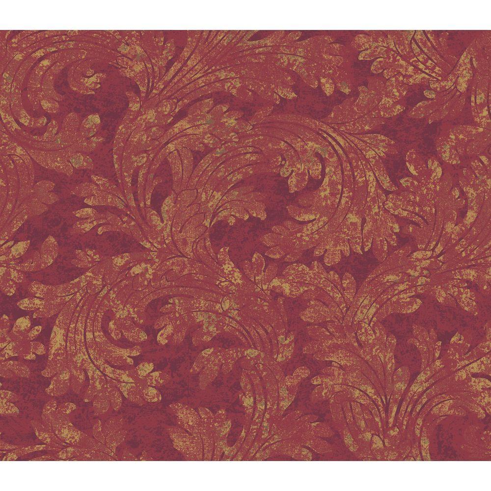 The Wallpaper Company 56 sq. ft. Red Amici Wallpaper