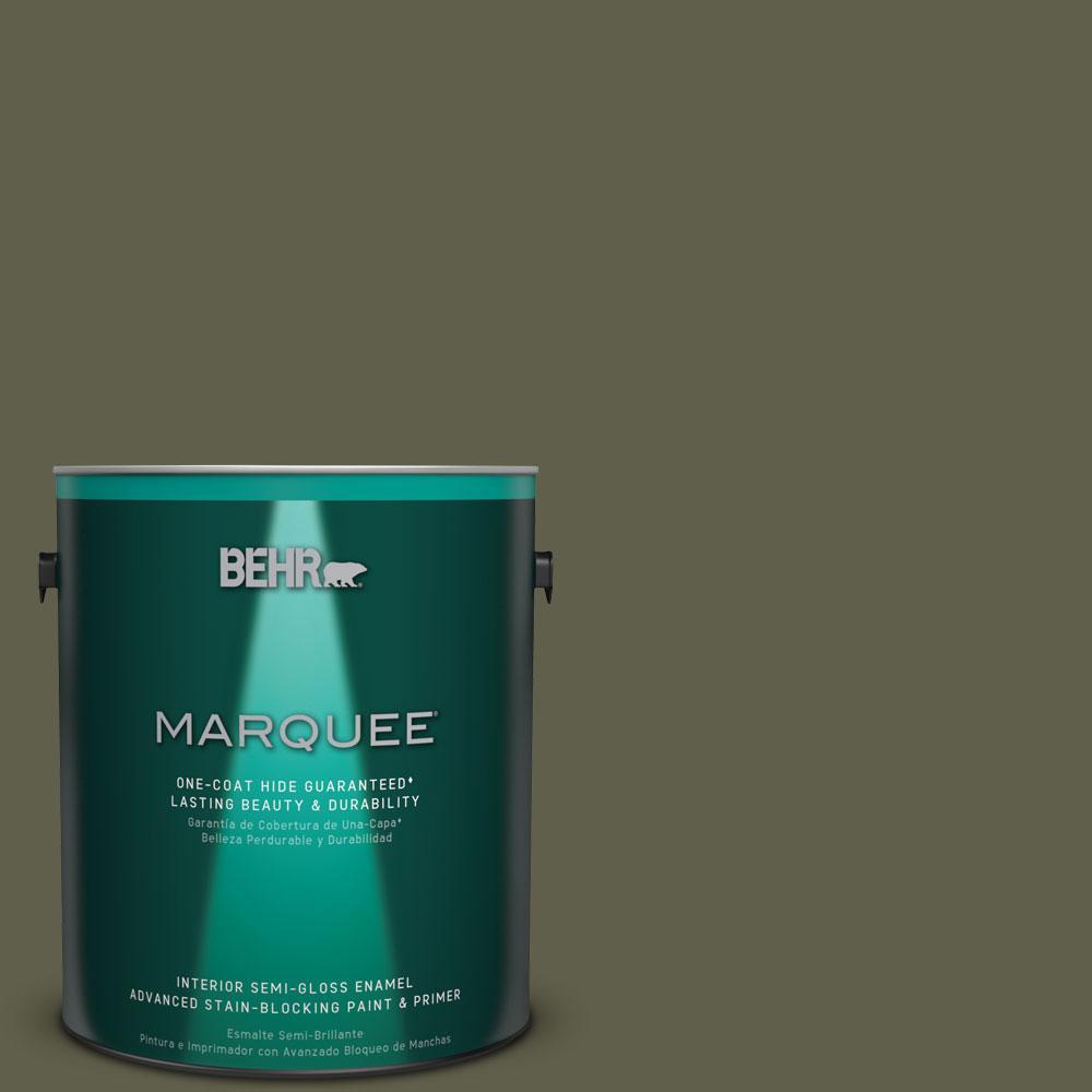 BEHR MARQUEE 1 gal. #MQ6-58 Fig Tree One-Coat Hide Semi-Gloss Enamel Interior Paint