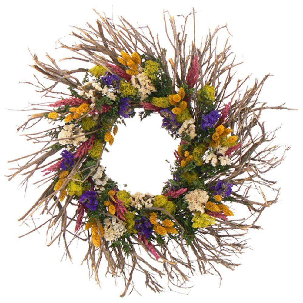 The Christmas Tree Company Spring Kaleidoscope 22 in. Dried Floral Wreath