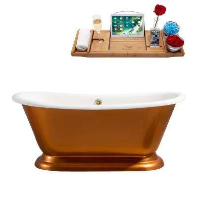 66 in. Cast Iron Flatbottom Non-Whirlpool Bathtub in Gold