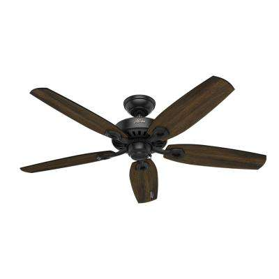 Builder Elite 52 in. Indoor Matte Black Ceiling Fan Bundled with Handheld Remote Control