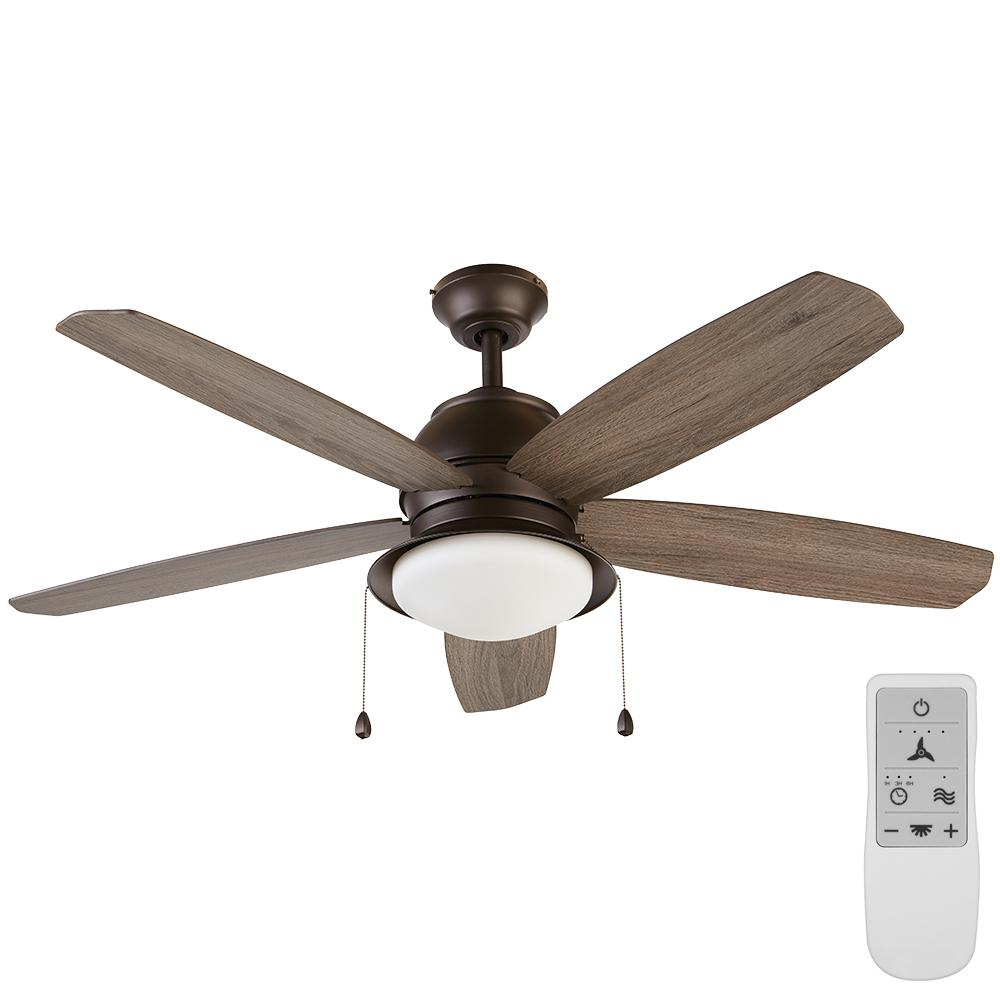 Home Decorators Collection Ackerly 52 in. Integrated LED Bronze Ceiling Fan with Light Kit Works, Google Assistant and Alexa