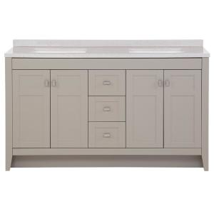 Bladen 60.5 in. W x 18.75 in. D Bath Vanity in Gray with Solid Surface Vanity Top in Polar Gray with White Basin