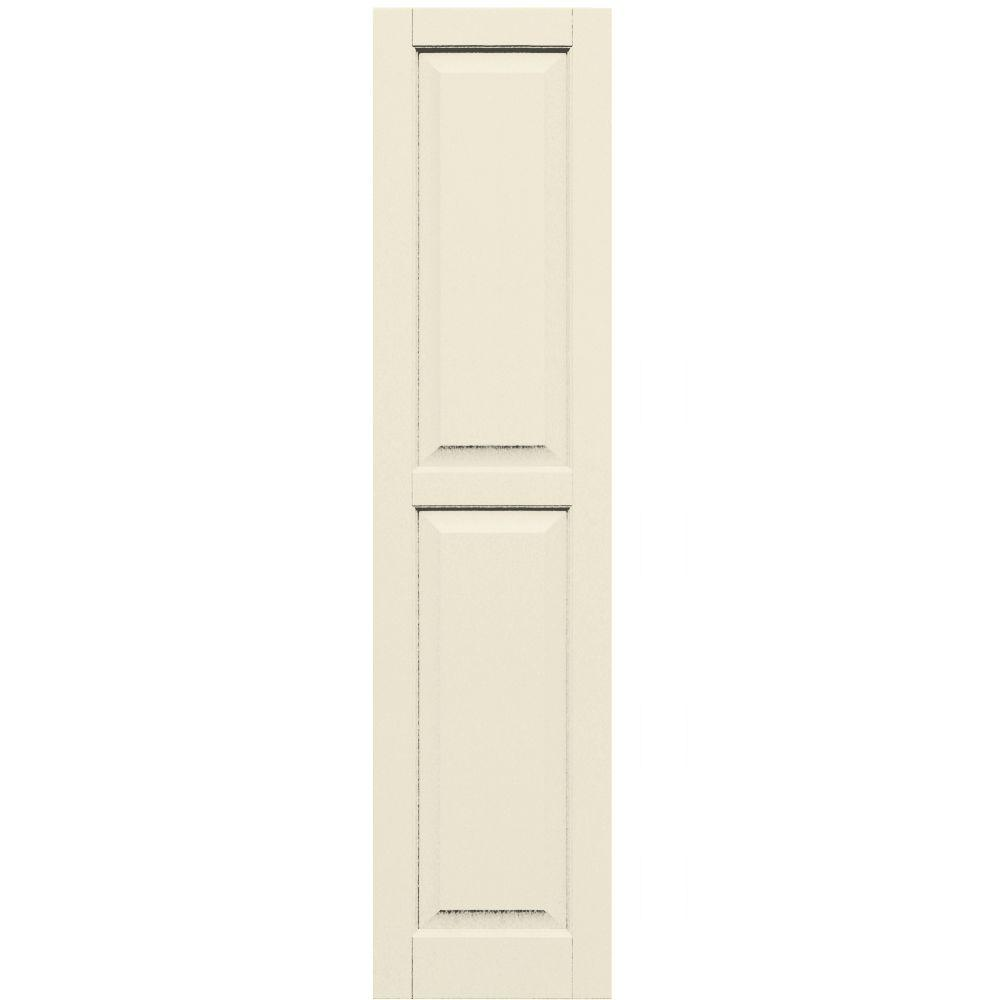 Winworks Wood Composite 15 in. x 63 in. Raised Panel Shutters Pair #651 Primed/Paintable