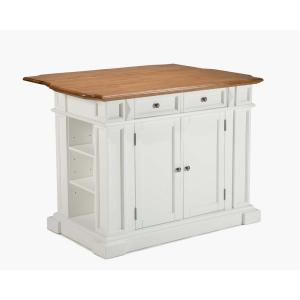 HOMESTYLES Americana White Kitchen Island with Seating 5002 ...