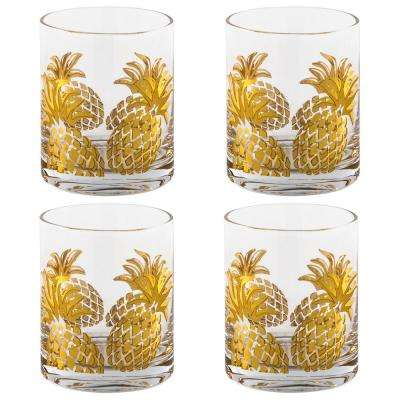 Gold Pineapple Double Old Fashioned Glasses (Set of 4 )