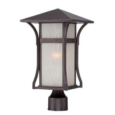 Tahiti Collection 1-Light Outdoor Architectural Bronze Post Lantern
