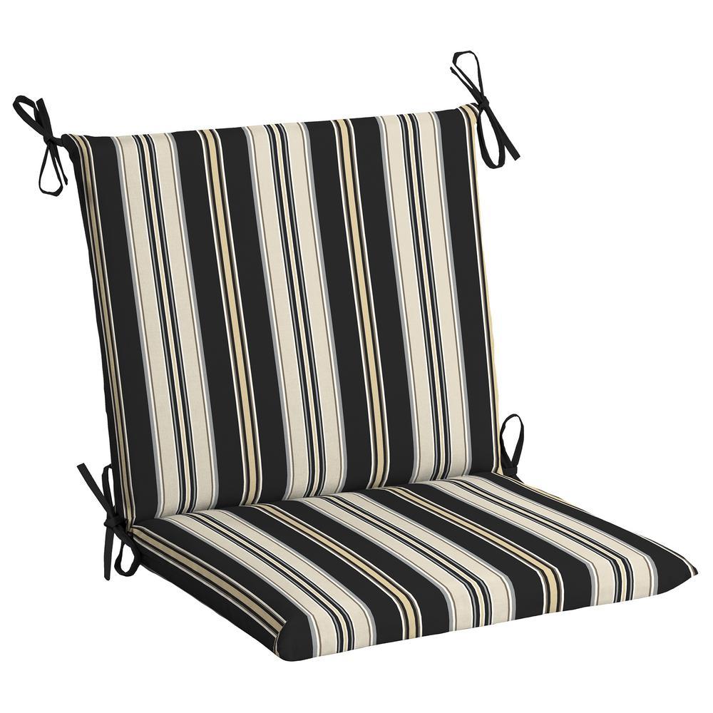 Black Stripe Outdoor Dining Chair Cushion