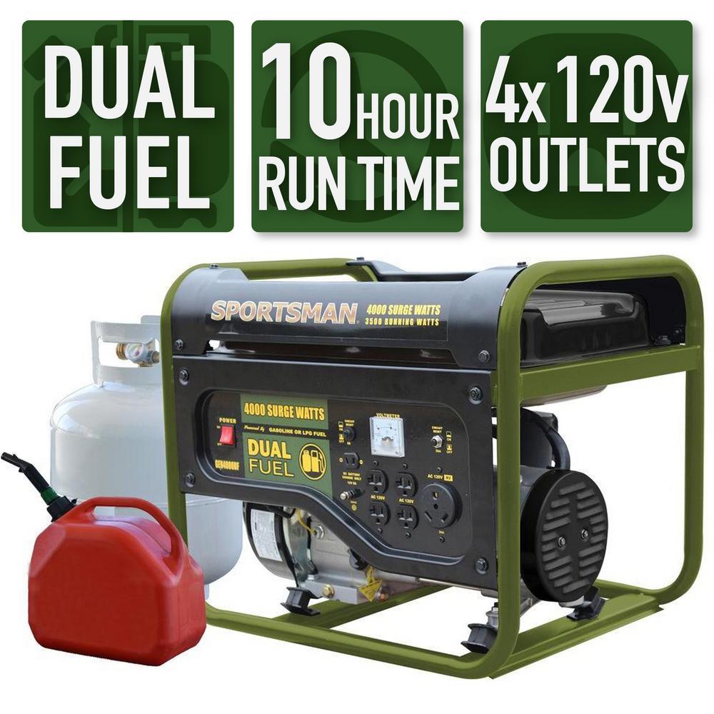 Sportsman 4,000/3,500-Watt Dual Fuel Powered Portable Generator, Runs on LPG or Regular Gasoline
