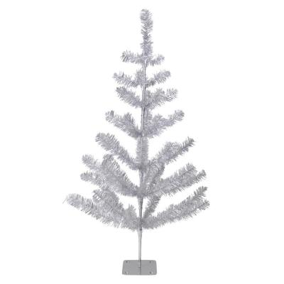 3 ft. Silver Tinsel Pine Unlit Artificial Christmas Twig Tree