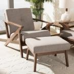 """Bianca Light Grey and """"Walnut"""" Brown Lounge Chair and Ottoman Set"""