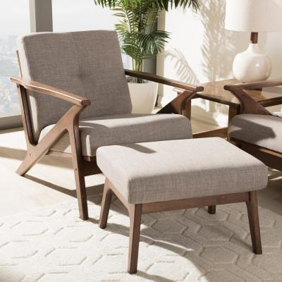 "Bianca Light Grey and ""Walnut"" Brown Lounge Chair and Ottoman Set"