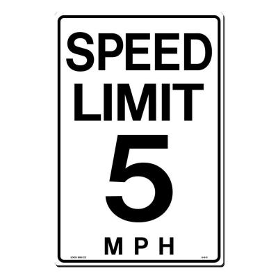 12 in. x 18 in. Speed Limit 5 M.P.H. Sign Printed on More Durable, Thicker, Longer Lasting Styrene Plastic