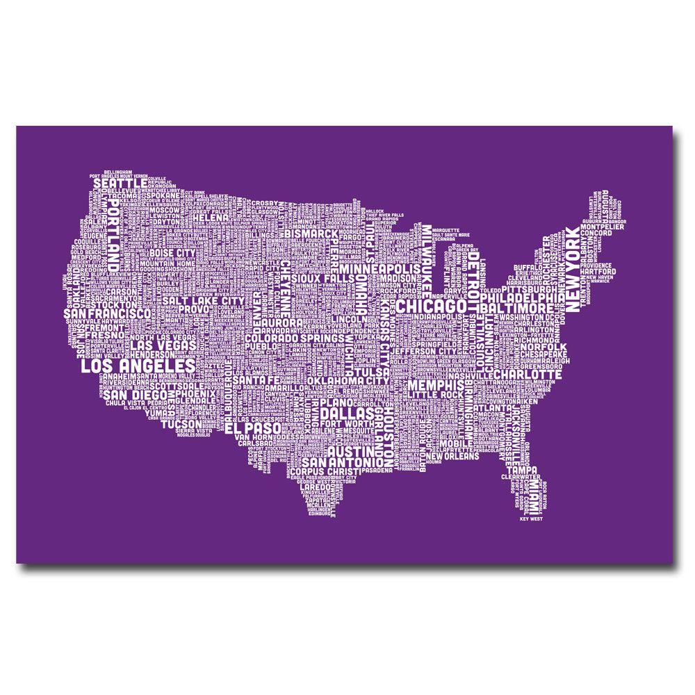 Trademark Fine Art 30 in. x 47 in. US City Map IX Canvas Art