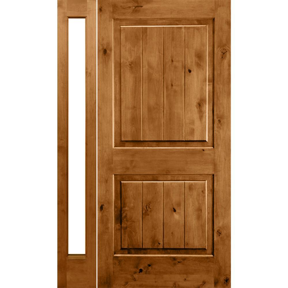 Krosswood Doors 46 in. x 80 in. Rustic Unfinished Knotty Alder Sq-Top VG Left-Hand Left Full Sidelite Clear Glass Prehung Front Door
