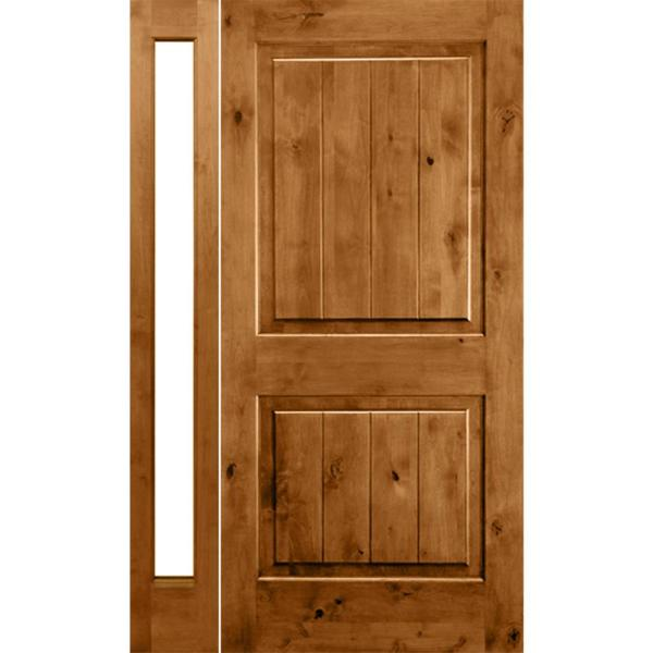 Krosswood Doors 46 In X 96 In Rustic Unfinished Knotty Alder Square Top Right Hand Left Full Sidelite Clear Glass Prehung Front Door Phed Ka 300 28 80 134 Rh Lfsl The Home Depot