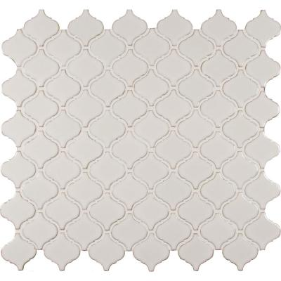 Bianco Arabesque 9.84 in. x 10.63 in. x 6mm Glossy Ceramic Mesh-Mounted Mosaic Tile (0.73 sq. ft.)