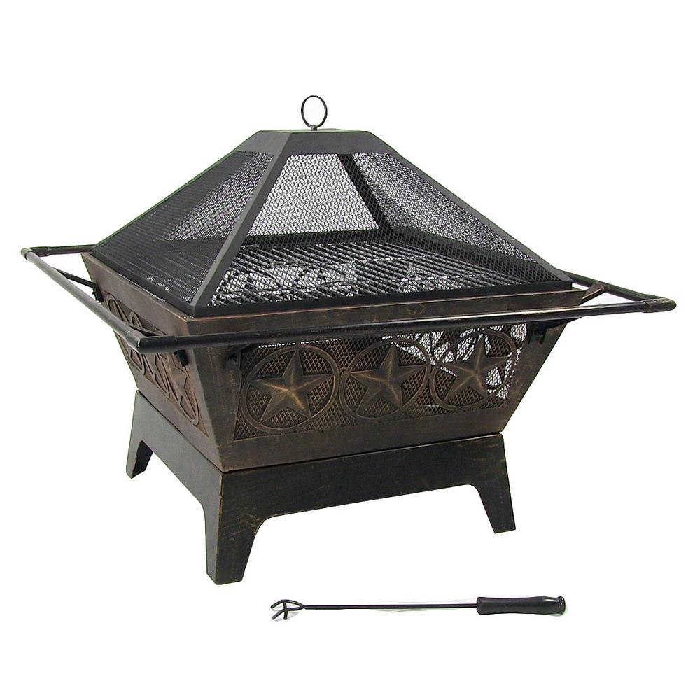 Sunnydaze Decor Northern Galaxy 32 in. x 24 in. Square Bronze Steel Wood Burning Fire Pit with Cooking Grate and Spark Screen