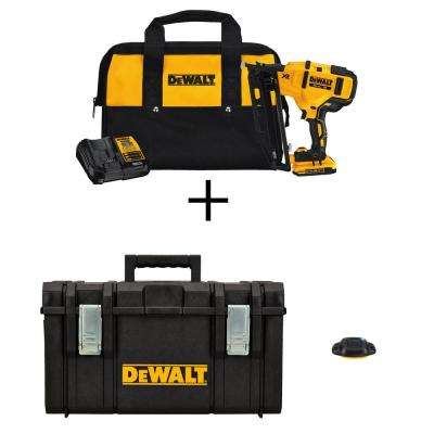 20-Volt Max 16-Gauge Cordless Angled Finish Nailer Kit with Bonus 22 in. Large Tool Box and Blue Tooth Tag