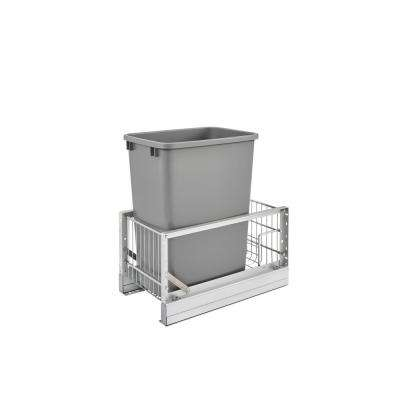 19.313 in. H x 10.813 in. W x 18 in. D Single 35 Qt. Deep Pull-Out Brushed Aluminum and White Waste Container