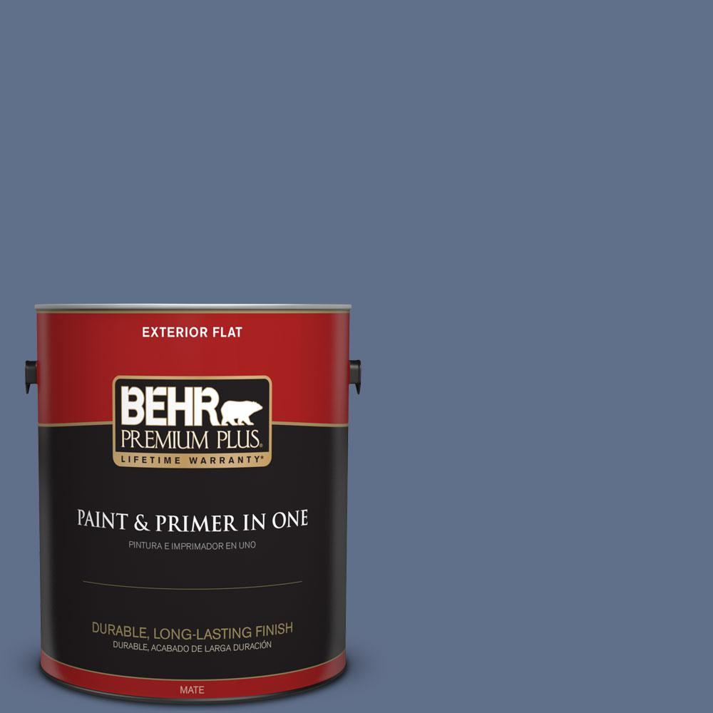 BEHR Premium Plus 1-gal. #600F-6 Atlantic Blue Flat Exterior Paint