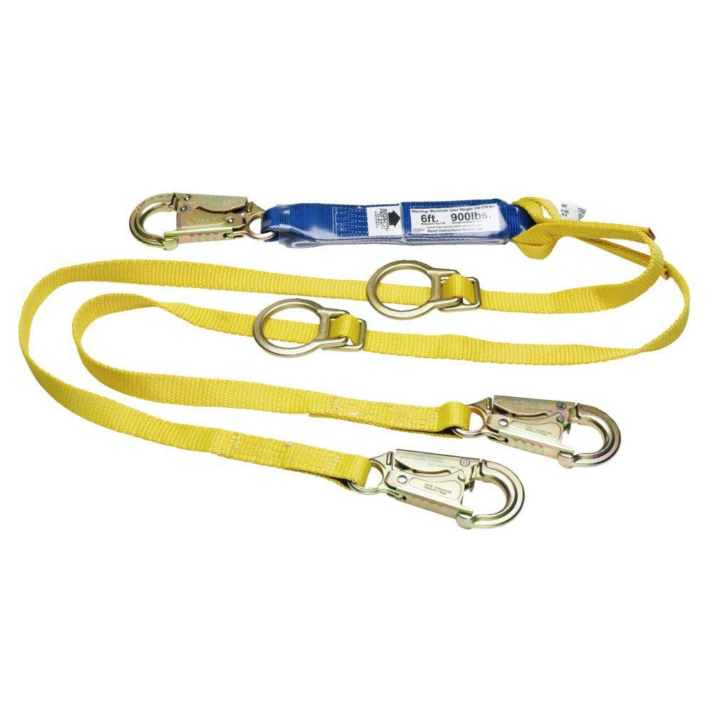 FallTech 82063 Restraint Lanyard 6 Blue Single Leg with 1 Snap Hook and 1 Rebar Hook