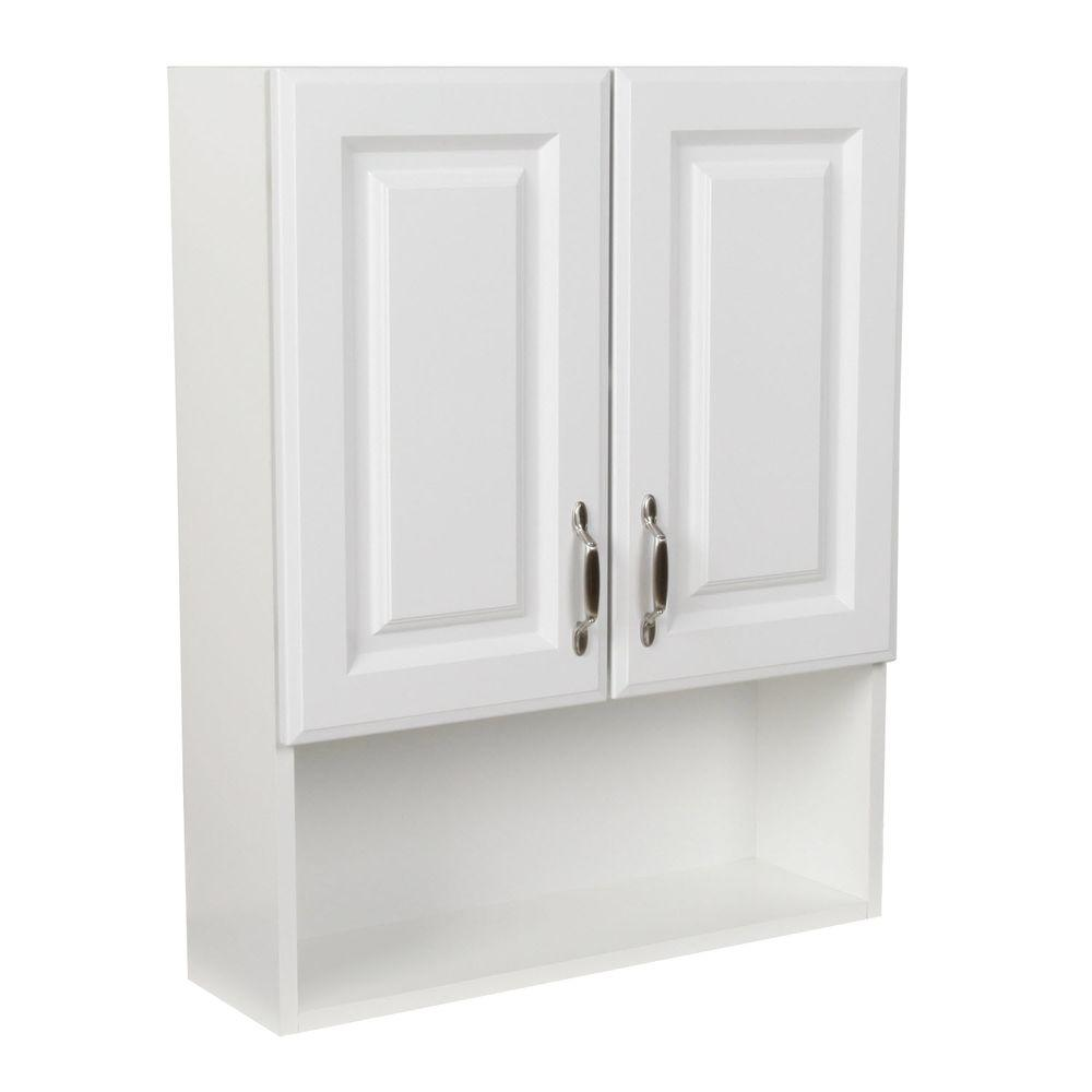St Paul Arkansas 24 In W X 30 In H Over The Toilet Bathroom Storage Wall Cabinet In White