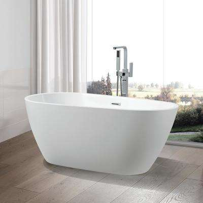Bayonne 59 in. Acrylic Flatbottom Freestanding Bathtub in White