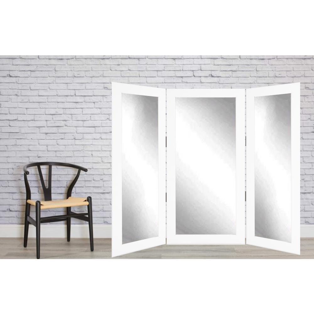 Full Body White Trifold Dressing Mirror