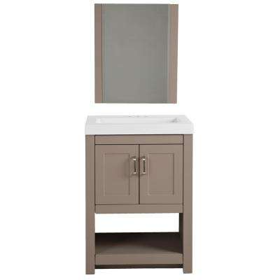 Fairlake 24 in. W x 19 in. D Vanity in Clay with Cultured Marble Vanity Top in White with White Sink and Mirror