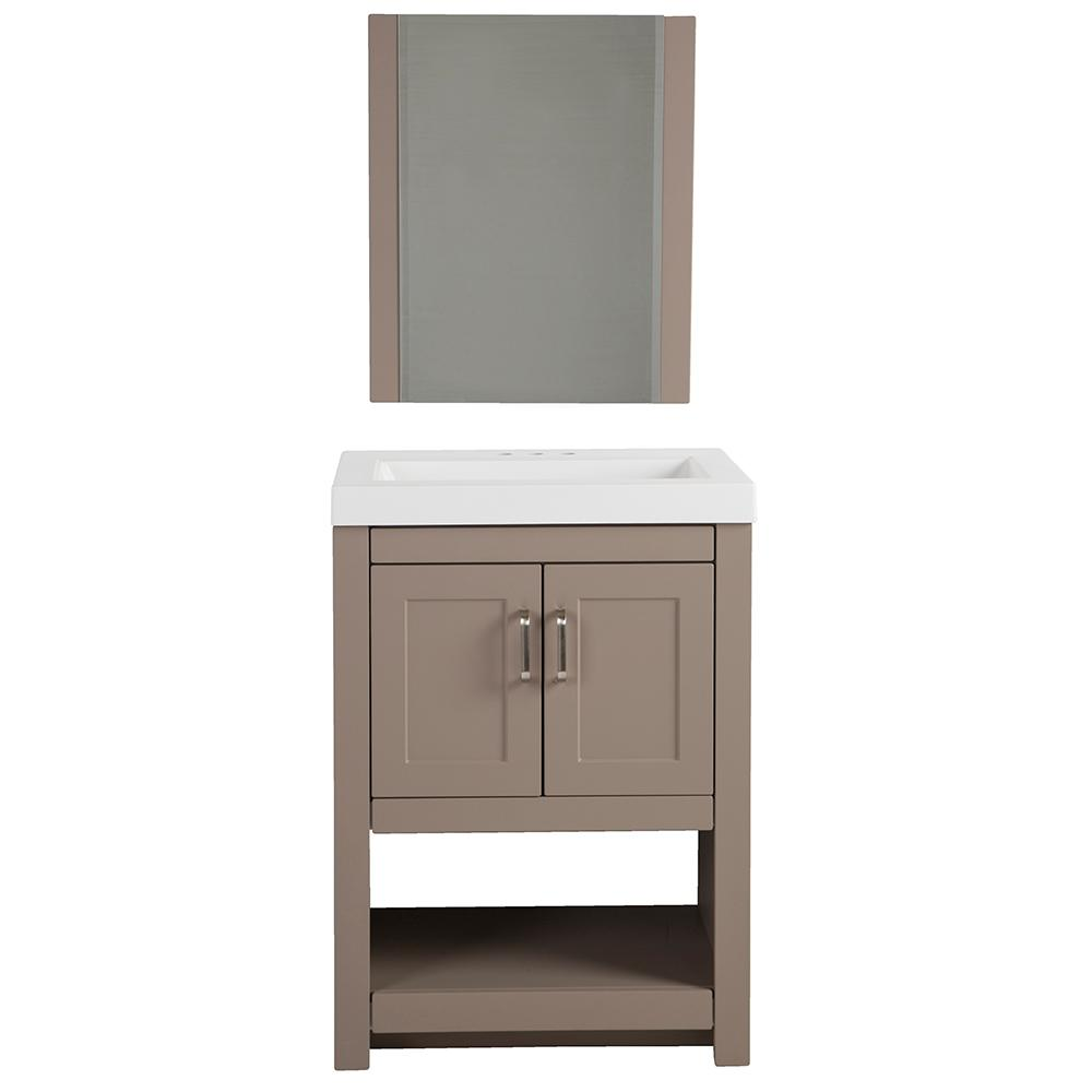 Glacier Bay Fairlake 245 In W X 1875 D Vanity In Clay With 24 Vanity Combo I25