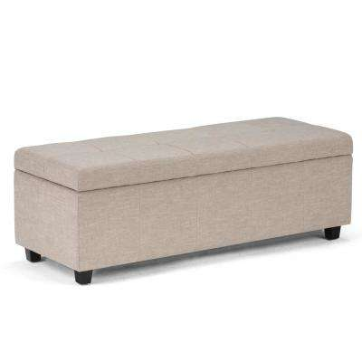 Castleford 48 in. Contemporary Storage Ottoman in Natural Linen Look Fabric
