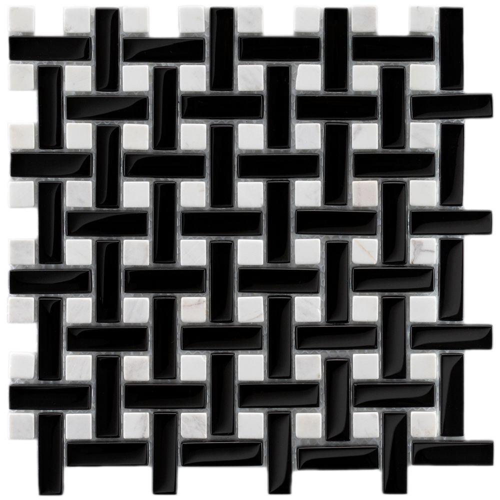 Merola Tile Tessera Basketweave Classic 11 in. x 11 in. x 8 mm Glass and Stone Mosaic Wall Tile