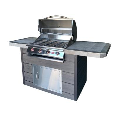 4-Burner Gas Grill with 7 ft. Synthetic Wood and Tile BBQ Island
