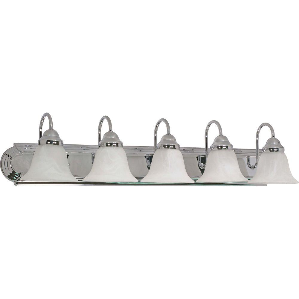 Glomar 5-Light Polished Chrome Vanity Light with Alabaster Glass Bell Shades