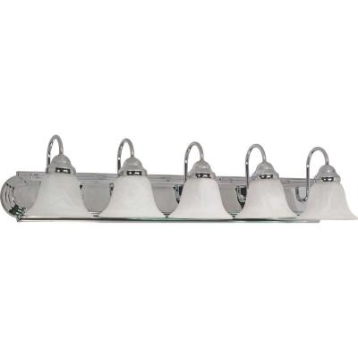 5-Light Polished Chrome Vanity Light with Alabaster Glass Bell Shades