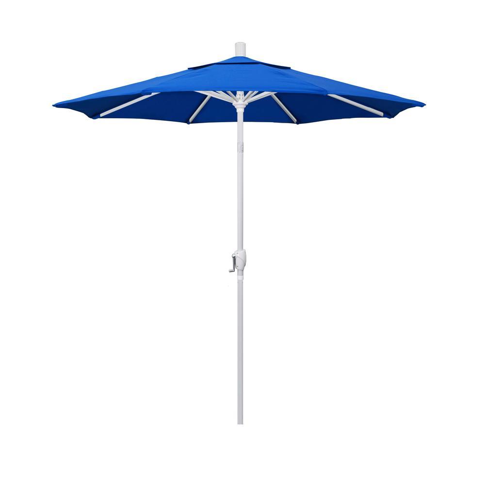 California Umbrella 7.5 ft. Matte White Aluminum Market Push Tilt Patio Umbrella in Royal Blue Olefin