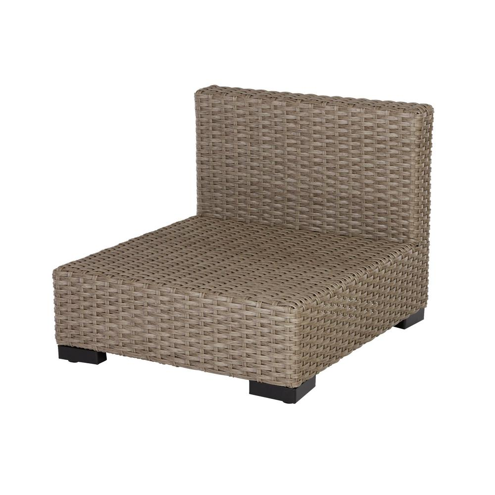 Hampton Bay Commercial Gray Wicker Armless Middle Outdoor Sectional Chair