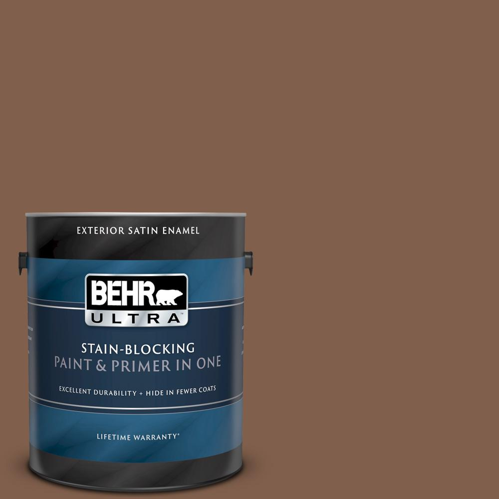 Behr Ultra 1 Gal Home Decorators Collection Hdc Sp14 6 Tilled Earth Satin Enamel Exterior Paint Primer 985301 The Home Depot