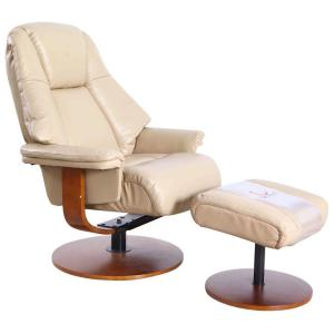 Lindley Cobble Air Leather Recliner with Ottoman