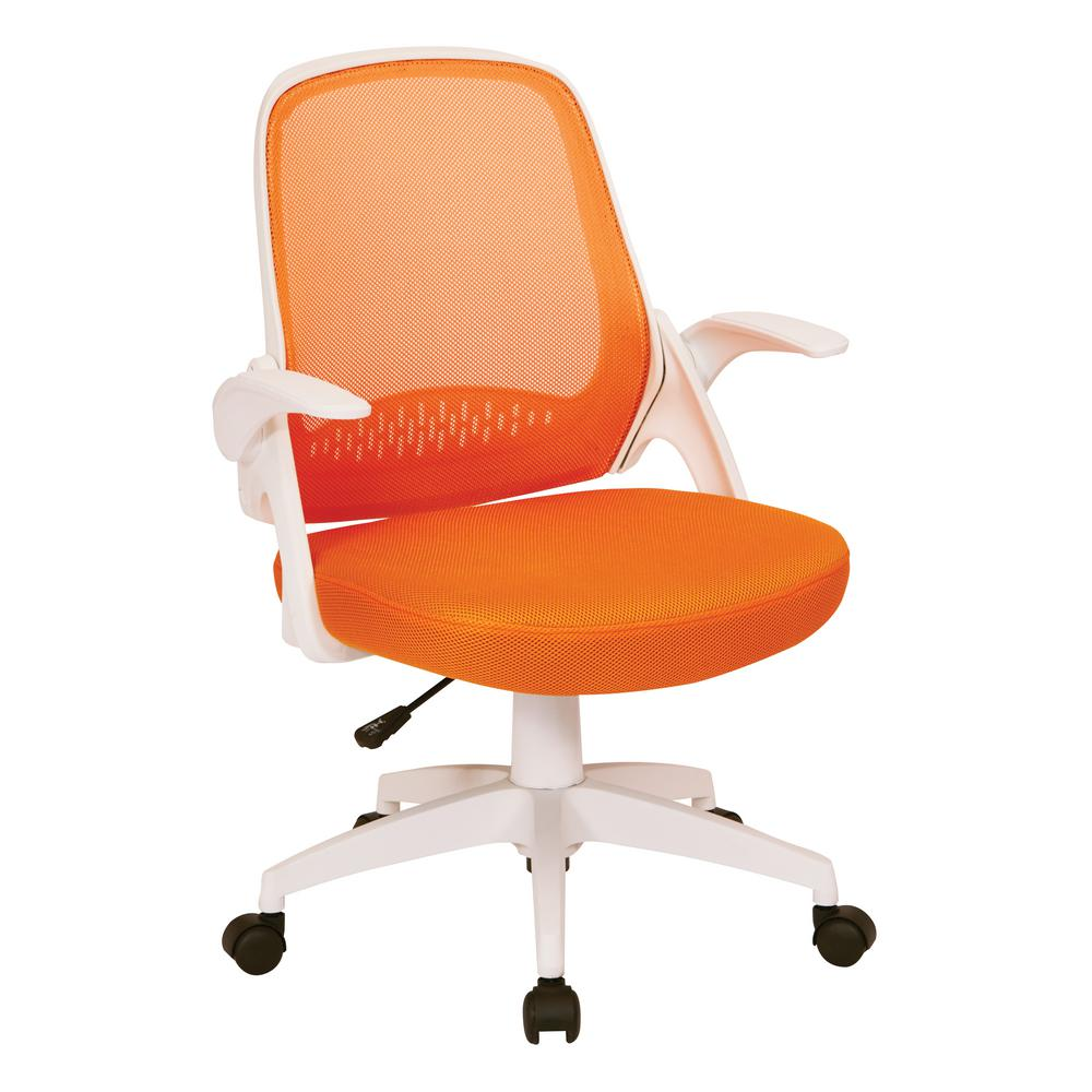 Osp Home Furnishings Jackson Orange Mesh And White Frame Office Chair With Flip Arms Jkn26 W18m The Home Depot