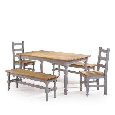 Jay 5-Piece Gray Wash Solid Wood Dining Set with 2-Benches, 2-Chairs and 1-Table