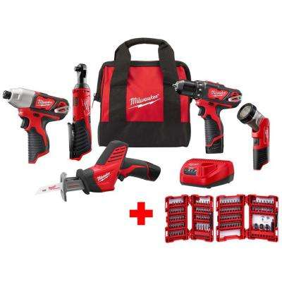 Milwaukee Combo Kit 5 Tool w Batteries Charger Bag Cordless Powerful M12 12Volt