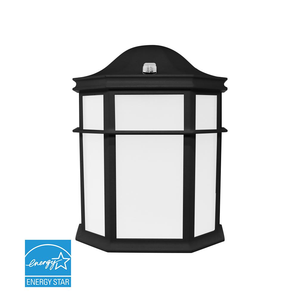 Home Depot Garage Lights Outdoor: 1 Light Black Outdoor Integrated LED Wall Mount Sconce-LED